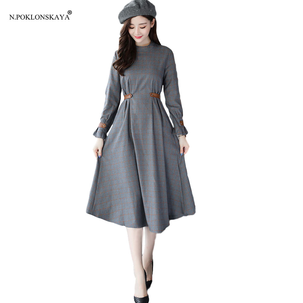 N.POKLONSKAYA Women Maxi Long Dress Plaid Vintage Autumn Winter Dress Pleated Lady Elegant Retro Slim Mid-calf Dresses Vestidos