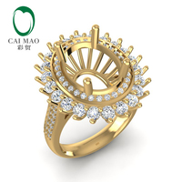 Caimao 8x10mm Oval 14k Yellow Gold 1.06ct Double Halos Diamond Engagement Ring Settings