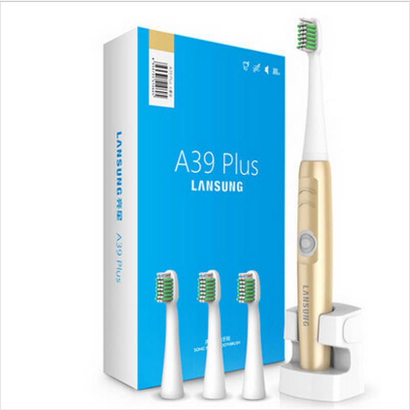 LanSung A39Plus Ultrasonic Electric Toothbrush Rechargeable Sonic Wireless Tooth Brush Electric + 4 Replacement Brush Heads best of lansung sn901 ultrasonic electric toothbrush rechargeable tooth brushes 4 pcs replacement heads auto setting time 220v