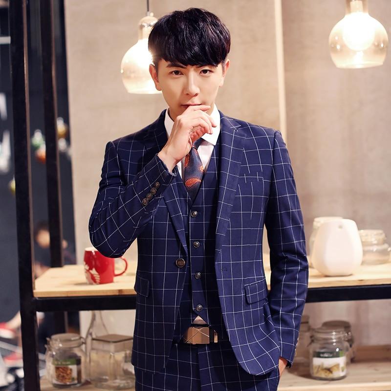 7cb9c3f4980 Korean Style Men Dress Suits Blazer Vest Wedding Groom Suit Tuxedo  Gentleman Slim Fit Clothing Suits With Pants 3 Piece XY20