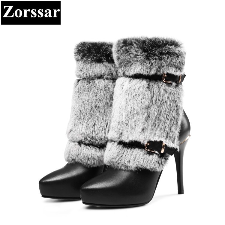 {Zorssar} 2017 new Luxury brand ladies shoes pointed Toe thin heels platform ankle boots Genuine Leather High heels snow boots