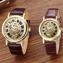 Creative 2PC Watches Men And Women Leather Band Classic Wrist Hollow Skeleton Couple Quartz Watch relogio masculino #210717