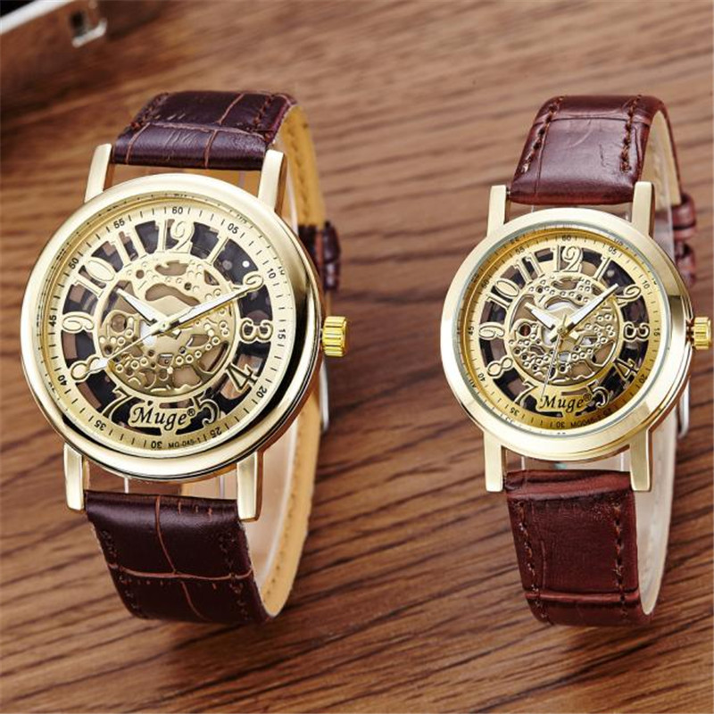 Creative 2PC Watches Men And Women Leather Band Classic Wrist Hollow Skeleton Couple Quartz Watch relogio