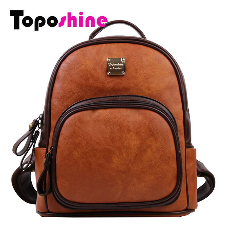 Toposhine Vintage Women Backpack Bag Match Colors Brown Fashion Bag Female Bag Leather Zipper Puller Luxurious Design 7103 рюкзак zipit zipper backpack pink brown zbpl 1