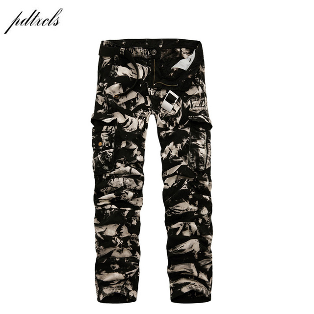 70b0a4311 PDTXCLS 2018 Spring New 100% Cotton Cargo Pants Men Multi-pocket Casual  Slim Camouflage Trousers Men Color (Asian Size 29-40)
