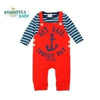 Baby Clothes Set 2Pcs Lot Cotton Stripe T Shirt Top Baby Romper Overalls Newborn Infant Boys