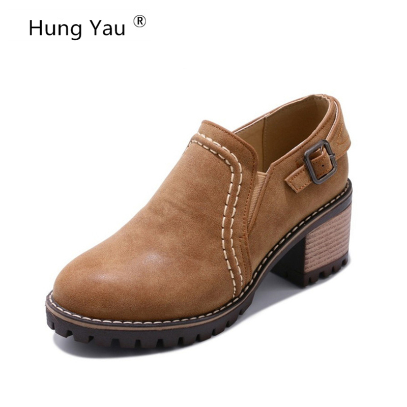 Hung Yau Leather Ankle Short Women Oxfords Square High Heel Casual Ladies Brogue Shoes Woman Classic Shoes 3 Colors Plus Size 11