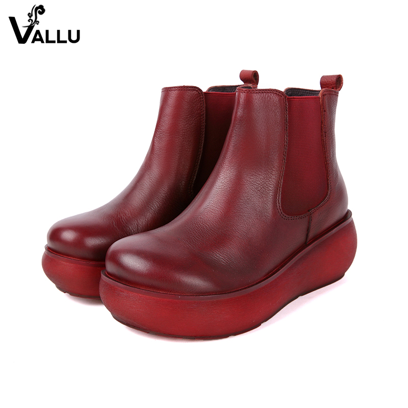 2018 VALLU Round Toes Ankle Boots Women Shoes Genuine Leather Round Toes Elastic Ladies Flat Platform Boots 2018 vallu new leather shoes women ankle boots round toes buckle zipper handamde vintage flat platform ladies boots