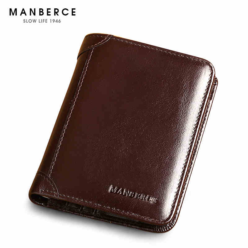 Luxury Shining Wax Cowhide Brand Wallet genuine leather male wallet, first layer cowhide purse vintage men wallets first layer cowhide genuine leather oil wax 3 fold wallets clutch vintage fashion ladies purse female famous brand high quality
