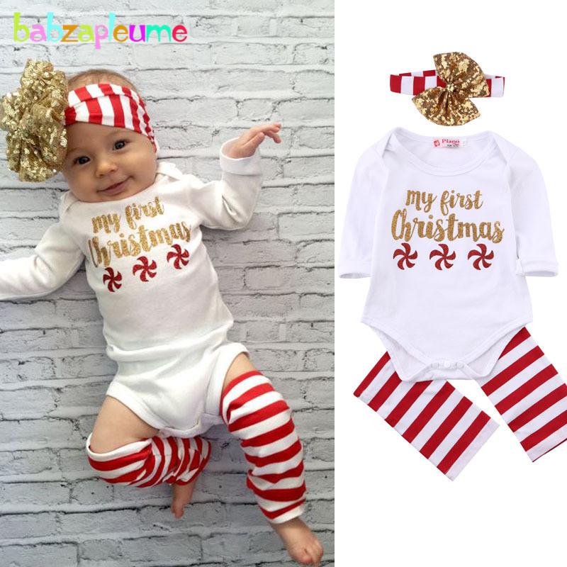 nias bebs ropa de manga larga de los mamelucos de navidad unids conjunto recin nacido