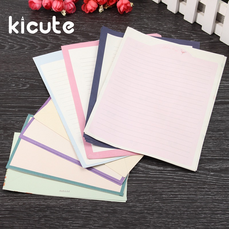 Kicute 1 Set Funny Flower Animal Letter Pad Set Writing Paper Set 4 Sheets Letter Paper And 2pcs Envelopes Office School Supply