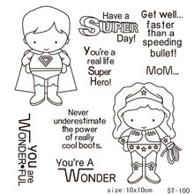 986a2b2d88240 Claro transparente sellos Scrapbooking DIY tarjeta niños sellos de goma  Superman divertido suministros de decoración de tarjeta .