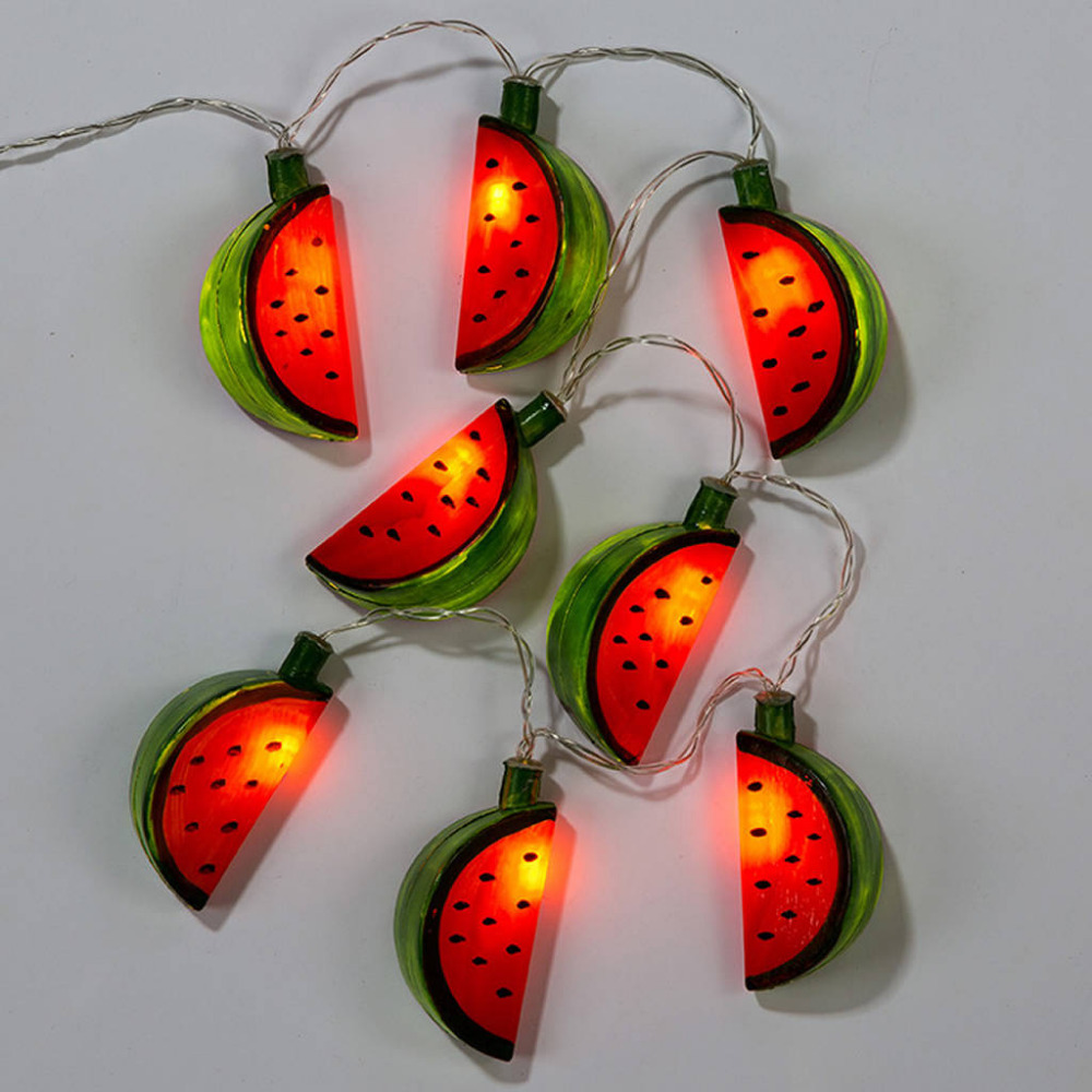 Battery Operated LED Hanging Lights Watermelon String Fairy Lights For Christmas Party Patio Bedroom Kid's Room Home Decoration