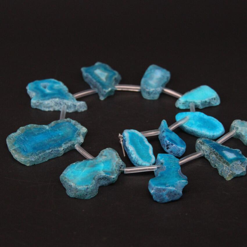 """Image 4 - 15.5""""/strand Top Drilled Blue Natural Agates Quartz Geode Druzy Freeform Slab Nugget Beads,Raw Roug Drusy Slice Pendant Jewelry-in Beads from Jewelry & Accessories"""
