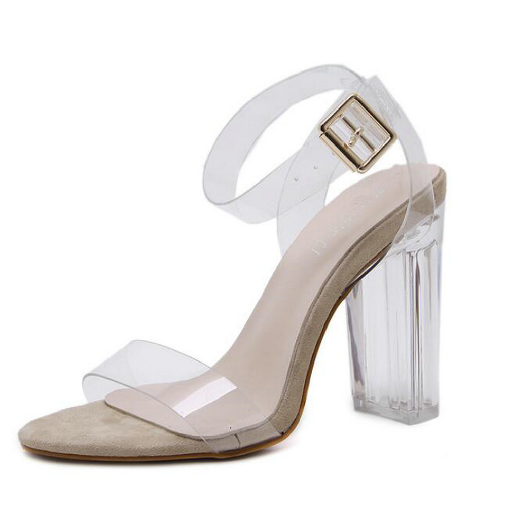 Black rainbow sandals with crystals - Women Sandals Pvc Clear Crystal Concise Buckle Strap Shoes Sexy Clear Transparent High Heels Party Sandals