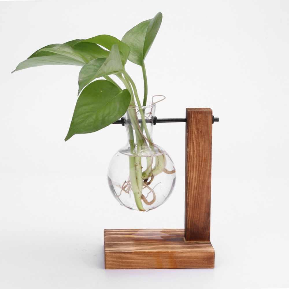 Kayu dan Kaca Vas Planter Terarium Desktop Meja Hidroponik Tanaman Bonsai Pot Bunga Gantung Pot dengan Baki Kayu Dekorasi Rumah