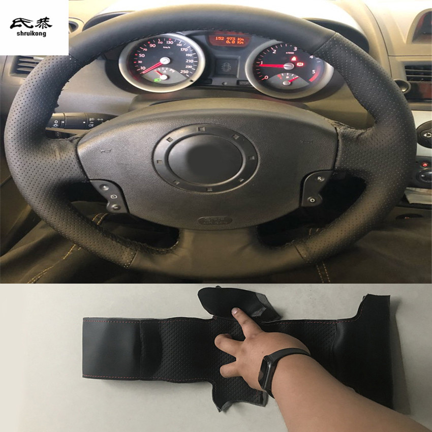 Sew-on Microfiber leather car steering wheel cover For Renault Megane 2 2003-2008 Kangoo 2008-2012 Scenic 2 2003-2010