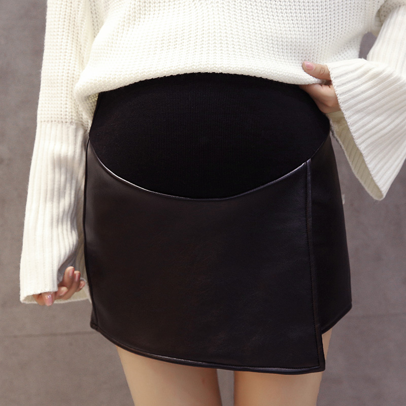 Pengpious pregnant women autumn and winter split belly skirts faux leather high waist skirts irregular maternity pu mini skirts