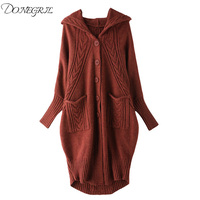 High quality 2018 batwing sleeve long female sweater for women loose big size knitting autumn cardigan sweaters clothes fashion