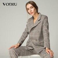 Vodiu Blazer Women Suits Ladies Blazers Sleeve Long Suit Jackets Slim Blazer Female Plaid Vintage Pockets