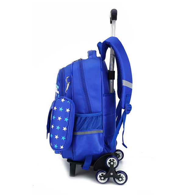 2018 Hot Sale Six-wheel Children's School Bag Primary School Trolley Bags Boys and Girls Students backpack Waterproof Grade 2-6 School Bags