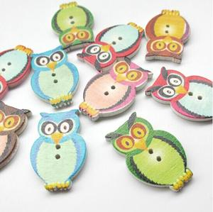 suoja 30*20mm 50 PCS Mixed Colors Lovely Owl Shape Two Hole Wooden Buttons For Clothes DIY Sewing