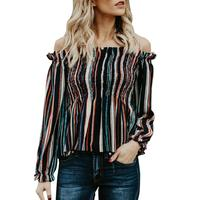 2018 New Spring Autumn Women Girls Elegant Blouse Colorful Striped Off Shoulder Pleat Ruched Long Sleeve