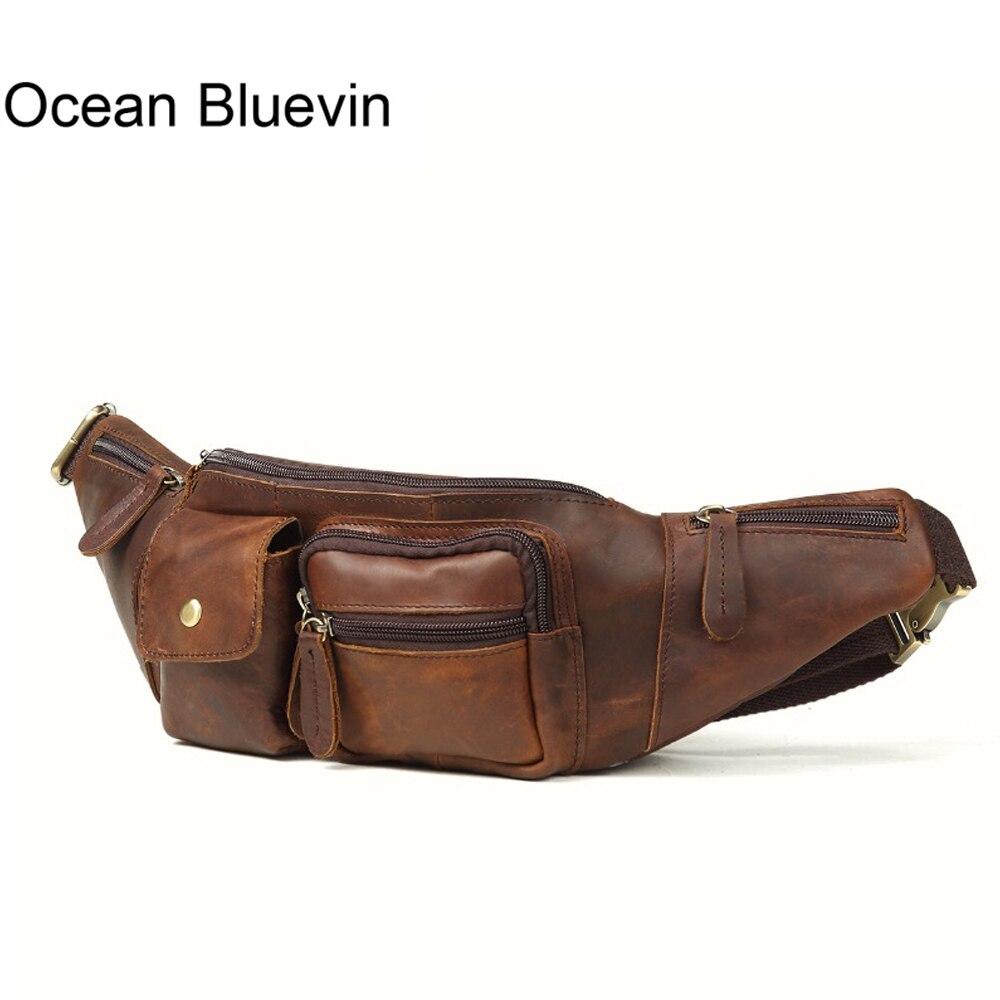 OCEAN BLUEVIN Genuine Leather Men Bag Messenger Vintage Men Waist Bag Leather Waist Pack Fanny Pack Bum Bag Money Belt Bag Male