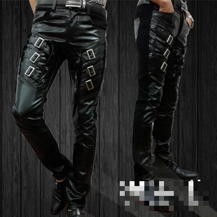 Стильный метросексуал плотно пу искусственного кожаные штаны мужчины панк танцевальные брюки для мужчин хип-хоп брюки мужчины 2016 зима тонкий тенденции моды