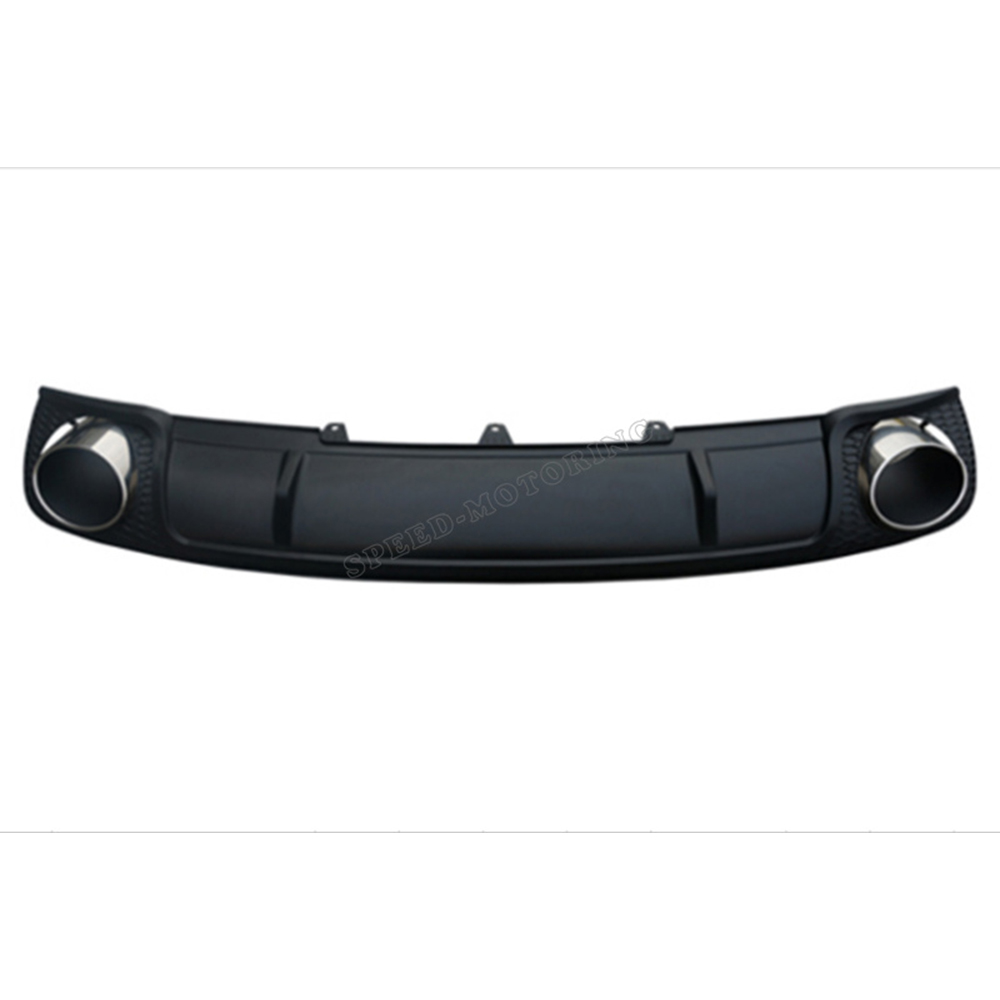 PP Stainless steel rear bumper diffuser with end muffler tips for Audi A4 B9 2014 2015 2016