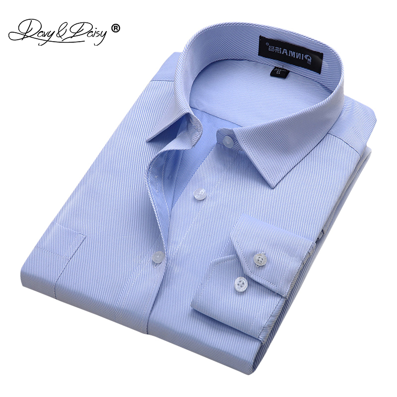 eb6ea56a6cb14 DAVYDAISY 2019 New Arrival Mens Work shirts Brand Long Sleeve Solid Twill  Men Dress Shirts Male Shirts 4xl 13 colors DS023