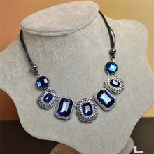 CZ Crystal Female leather cord necklace