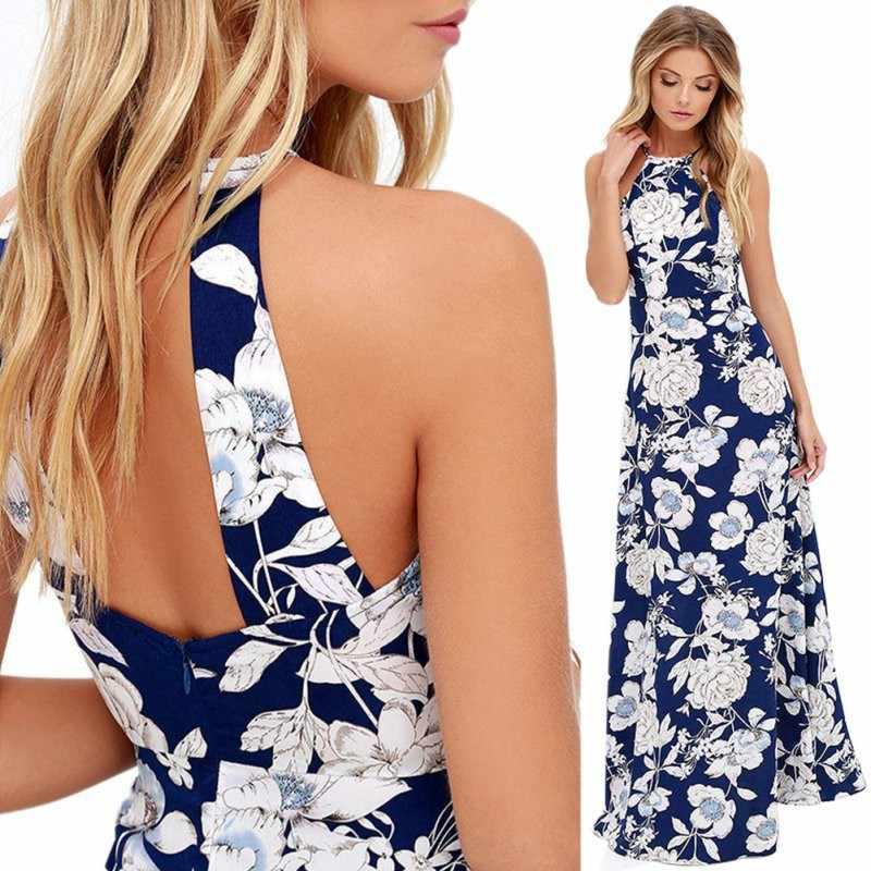 Летнее пляжное платье с бретельками, модные женские Вечерние Платья с цветочным принтом и открытой спиной, сексуальное облегающее длинное платье макси