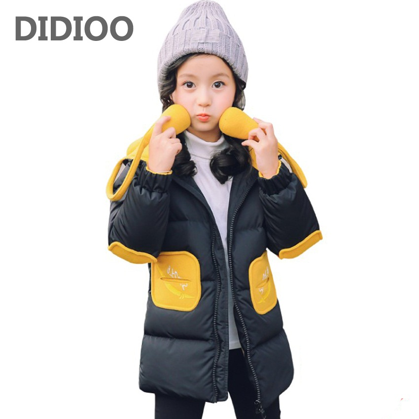 Teenage Parkas Coats For Girls Cartoon Cotton Outerwear Long Hooded Winter Jackets Children Thicken Warm Clothes 3 7 9 11 13 14 casual 2016 winter jacket for boys warm jackets coats outerwears thick hooded down cotton jackets for children boy winter parkas