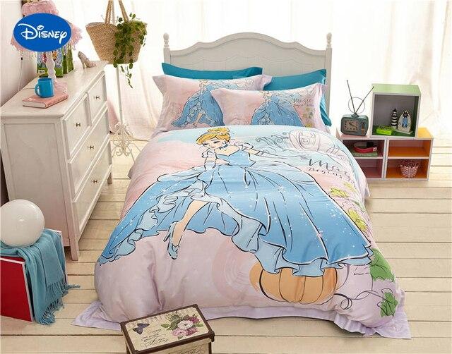 Blauw disney cartoon prinses gedrukt beddengoed sets voor