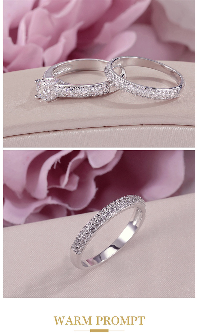 HTB1bAXOdmzqK1RjSZFpq6ykSXXap 100% Real 925 Silver Rings For Women Simple Double Stackable Fine Jewelry Bridal Sets Ring Wedding Engagement Accessory