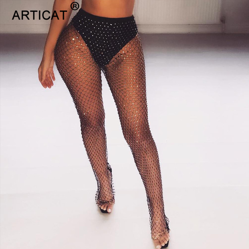 Articat Black Diamonds Fishnet Sexy Pants Women Bottoms Crystal Rhinestones Hollow Out Transparent Beach Club Party Trousers
