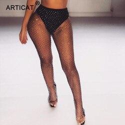 Articat Black Diamonds Fishnet Sexy Pants Women Bottoms Crystal Rhinestones Hollow Out Transparent Beach Club Party Trousers