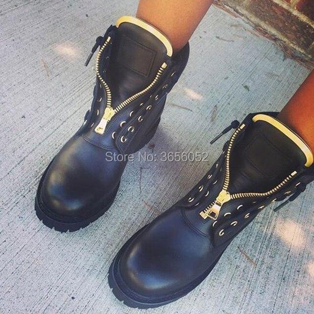 Cheville Métal Moto Qianruiti Femmes High Plates Zip Bottes Œillets Suede Velours Leather En Cuir D'hiver Top black Noir Chaussures Laiga Black Combat Chaussons xWBroedC