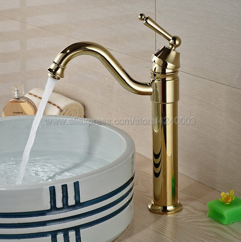 Basin Faucets Gold Plated Deck Mounted Bathroom Faucets Brass Bathroom Taps Mixer Single Handle Faucet Kgf055 in Basin Faucets from Home Improvement