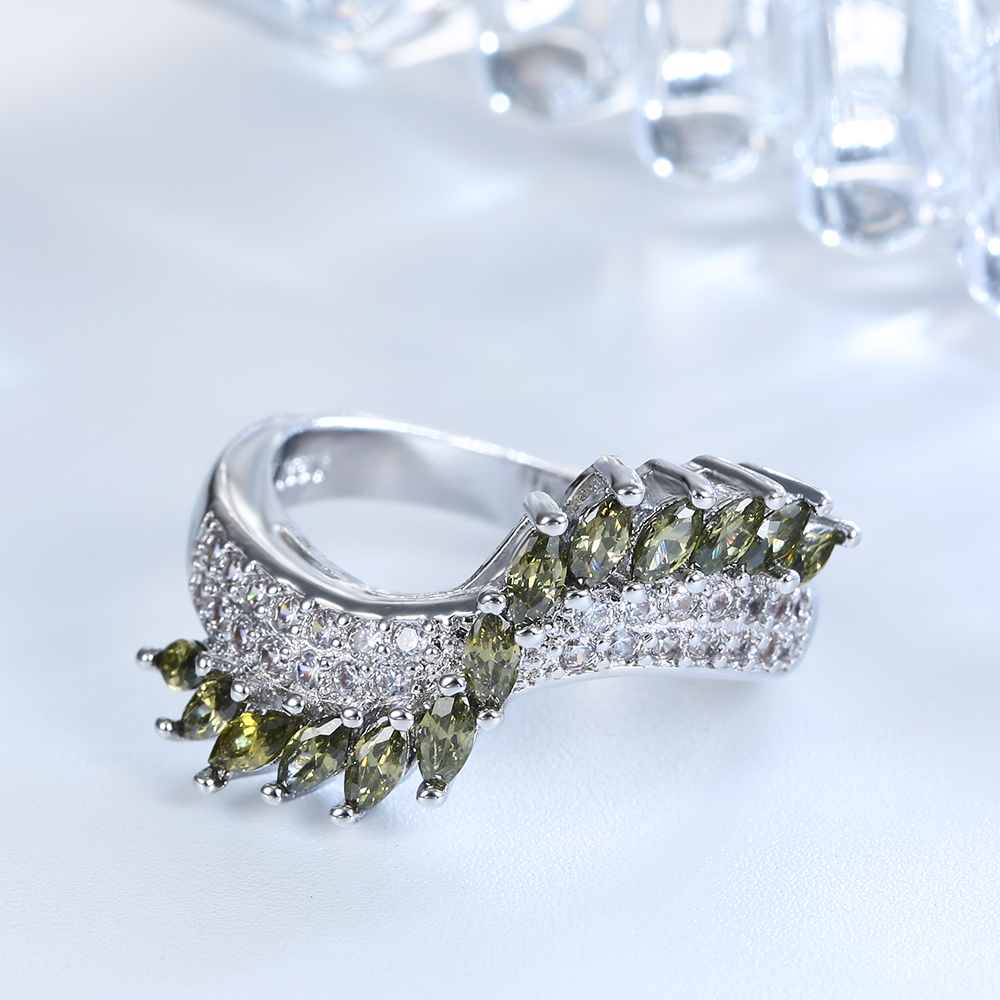 promise Rings for lover flower grass green ring micro paved white cz finger gift Ring for women fashion jewelry Gift