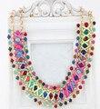 Kpop babero collar corto collar hecho a mano colorido fluorescente metal de la manera al por mayor/gros collier femme/sin cuello/colar/collana