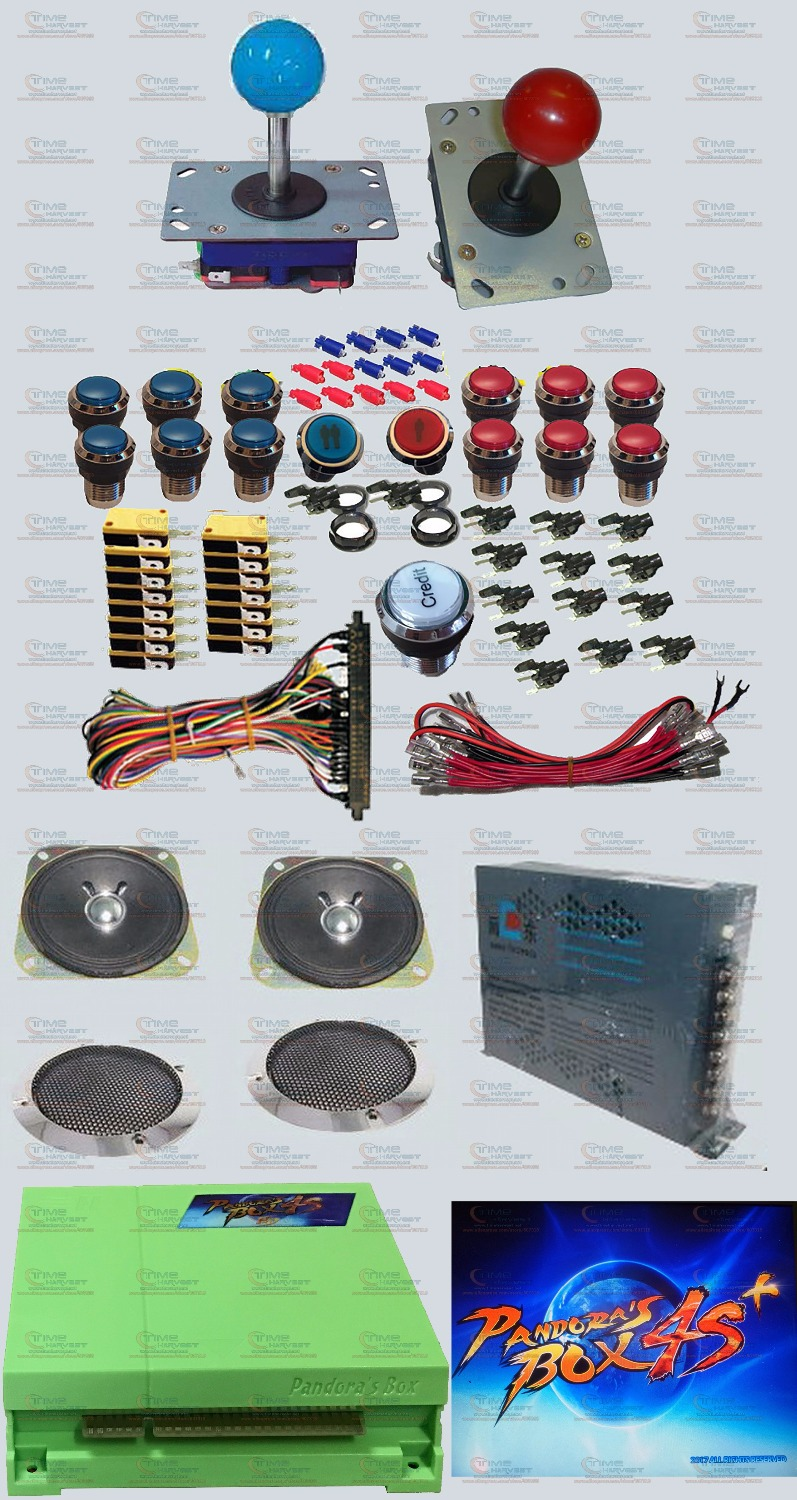 Arcade parts Bundles kit With New version Pandora's Box 4S plus Long shaft Joystick Chrome illuminated LED button Jamma Harness 2016 new free shipping neo snk arcade mvs magic key 2016 version