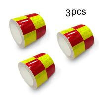 Reflective Hazard Tape checkered reflective tape Caution Warning Tape Red Fluorescent Green Square Types 5cm*5m 3 PCS