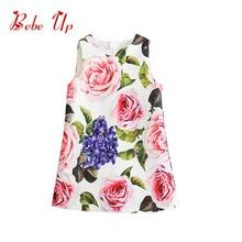 Kids Dresses For Girls Spring 2018 Vintage Floral Toddler Girl Dress Rose Flower Sleeveless Elegant Children Clothes Party Dress