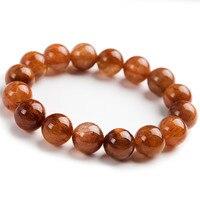 Genuine Natural Copper Hair Rutilated Quartz Crystal Women Charm Round Bead Healing Bracelet 12mm