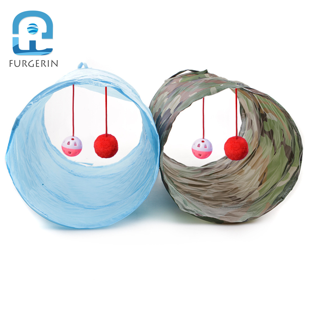 FURGERIN Funny Pet Cat Tunnel with Small Bell Ball 2 Holes collapsible cat toy Kitten Toys Puppy Rabbit Dog Tubes