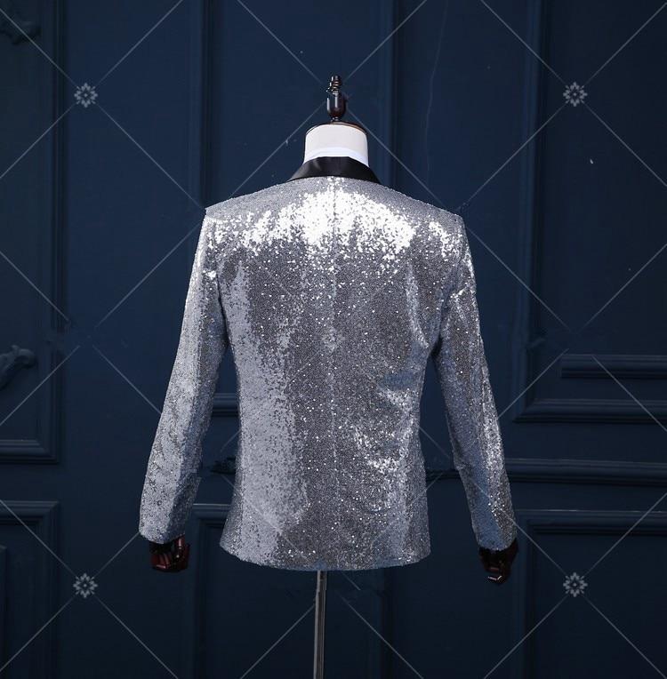 Gümüş blazer düğün damat ceket dış giyim erkek giyim - Erkek Giyim - Fotoğraf 3