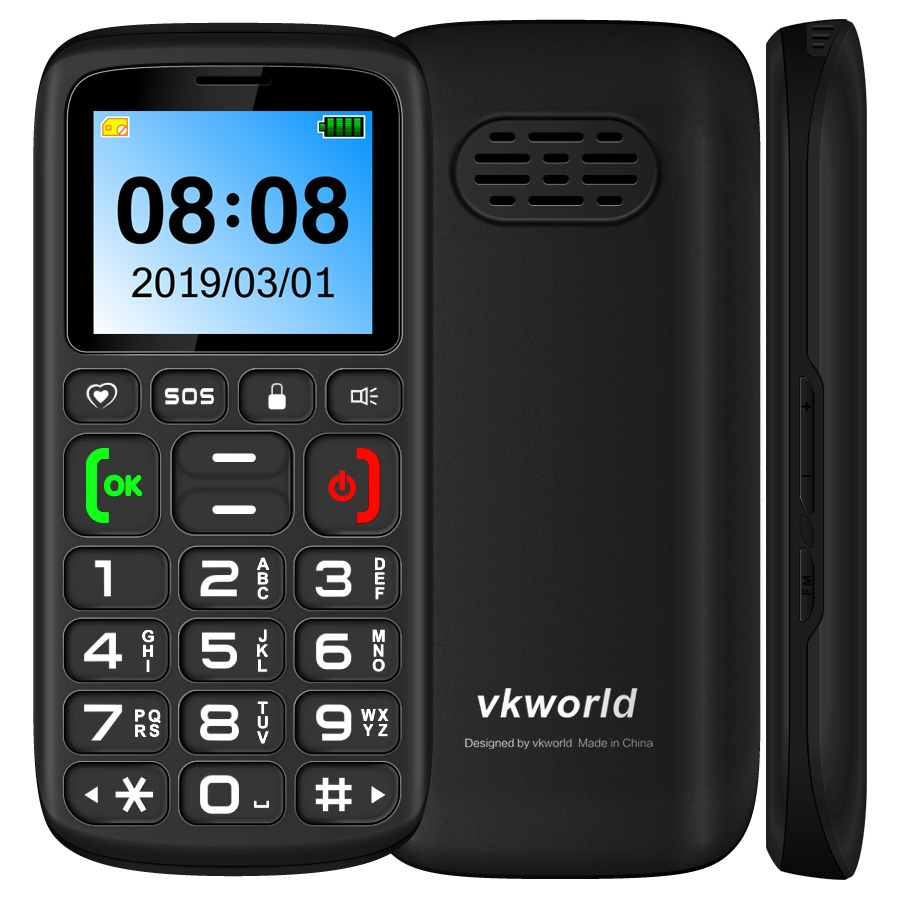 Vkworld Z3 Feature Mobile Phone Senior Kids Mini Phone Elder Cellphone Russian Keypad 2G GSM Push Big SOS Button Key Bluetooth