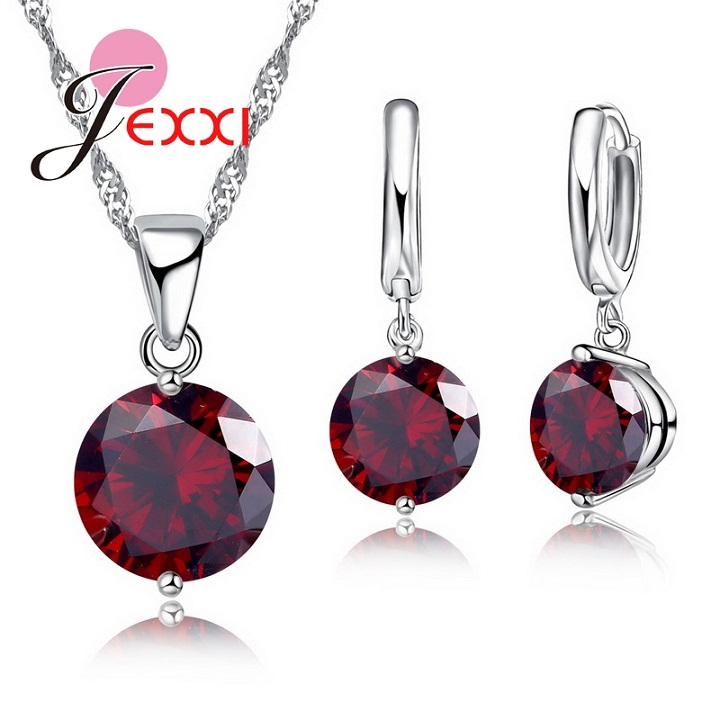 Charm 925 Sterling Silver Jewelry Sets 8 Colors Cubic Zircon Pendant Set Anniversary Earrings Necklace Accessories 3